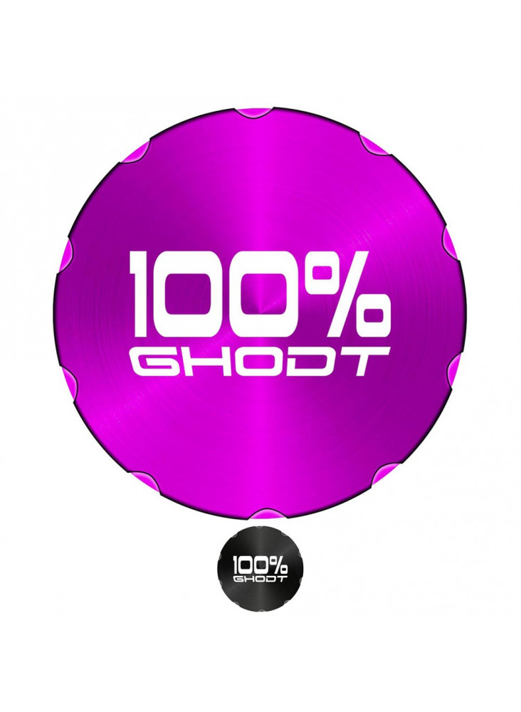 "GHODT Pollinator Ø62mm - Purple lid with lasered ""100% GHODT"" lettering."