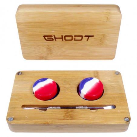 GHODT Dabbing Box aus Bambus mit zwei Silicone Cups und Dabbing Nail.