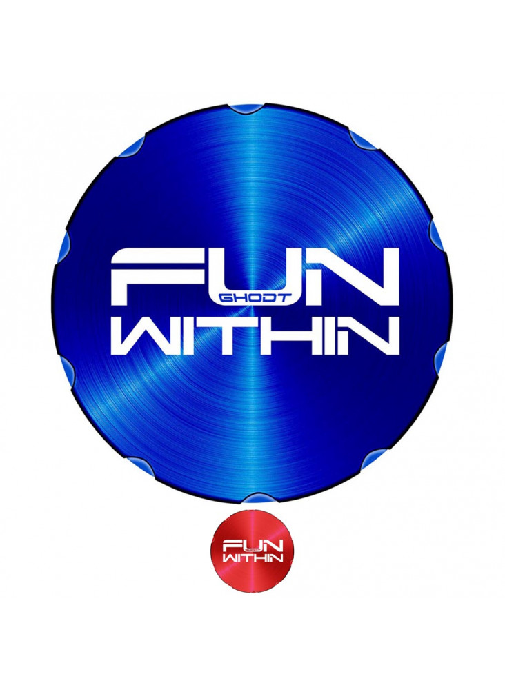 """GHODT Pollinator Ø62mm - Blue lid with lasered """"FUN WITHIN"""" lettering."""