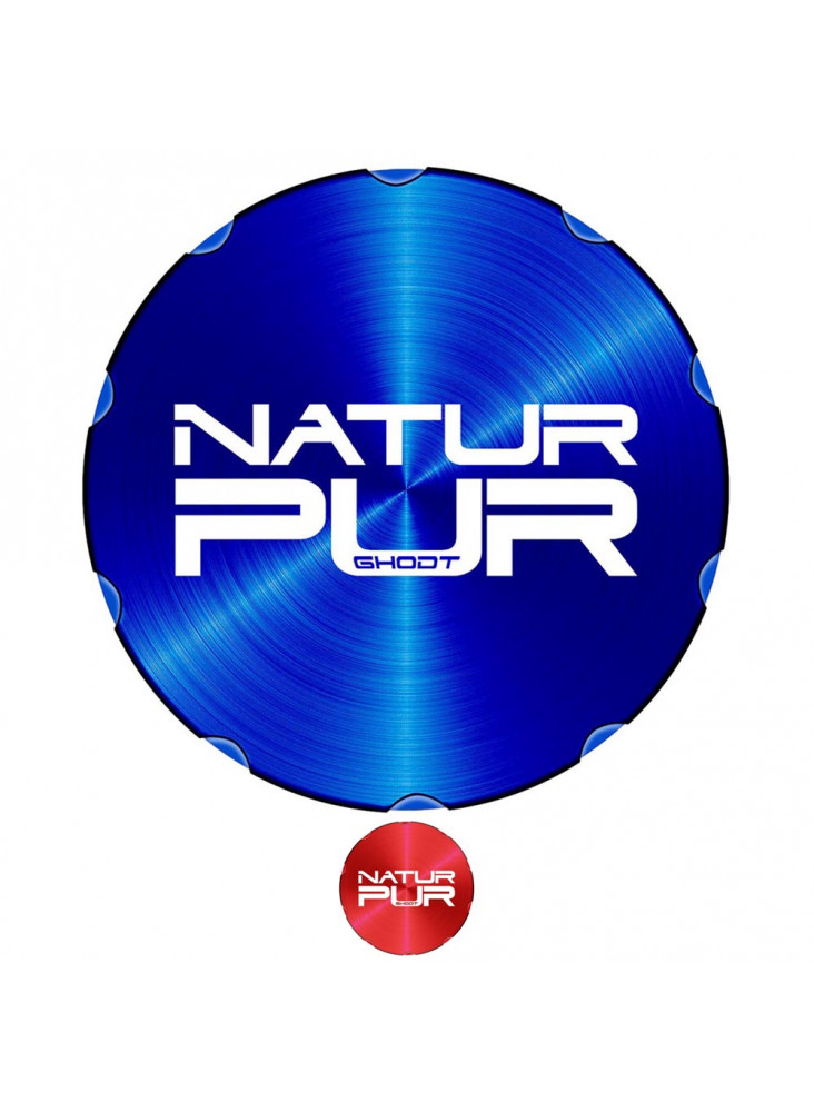 """GHODT Pollinator Ø62mm - Blue lid with lasered """"NATUR PUR"""" lettering."""