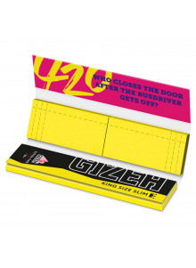 GIZEH King Size Slim + Tips 420 Edition - Booklet with 34 papers and 34 yellow tips
