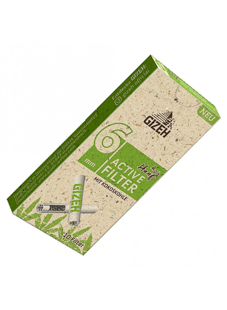 GIZEH Active Filter Hemp 6mm - Single pack of 10 filters.