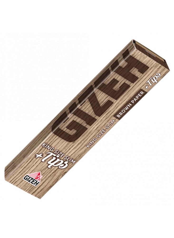 Gizeh Brown Paper King Size Slim + Tips - 34 Blättchen und 34 Filter Tips