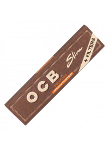 OCB Virgin Unbleached Slim + Tips - 32 Blättchen und 32 Tips.