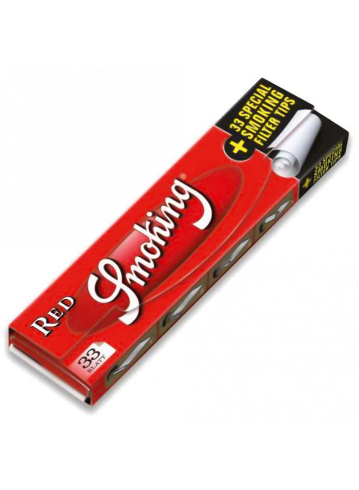Smoking Red Kingsize Papers + Filter Tips - Heftchen mit 33 Blättchen und 33 Tips