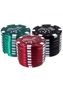 Pokerchip Style Grinder Ø40mm - Grün, Rot und Schwarz