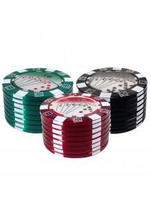 Pokerchip Style Grinder Ø50mm - Grün, Rot und Schwarz
